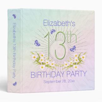 Celebration Rainbow 13th Birthday Party 1.5 inch 3 Ring Binder