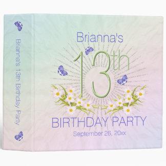 Celebration Rainbow 13th Birthday Party 2 inch 3 Ring Binder