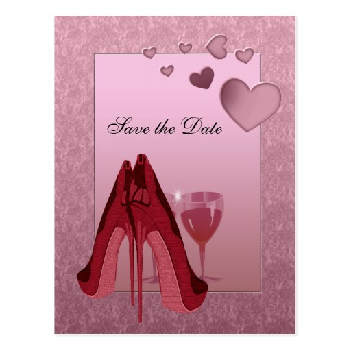 Celebration Red Stiletto and Pink Hearts Post Cards