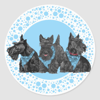 Celebration Scotties in Blue Classic Round Sticker