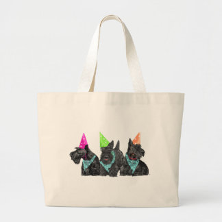 Celebration Scotties in Party Hats Tote Bags