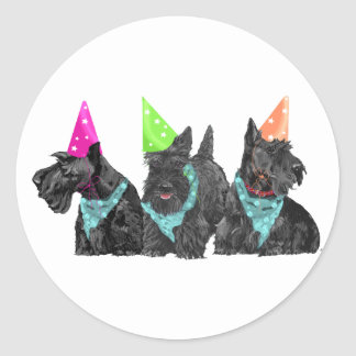 Celebration Scotties in Party Hats Classic Round Sticker