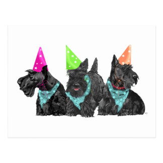 Celebration Scotties in Party Hats Postcard