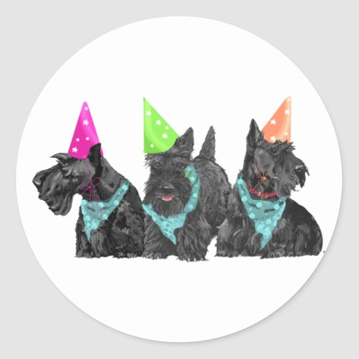 Celebration Scotties in Party Hats Round Stickers