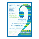 Celebration Stripes Number 2 Second Birthday Party Invites