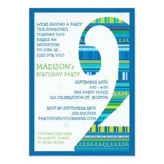 Celebration Stripes Number 2 Second Birthday Party Invites