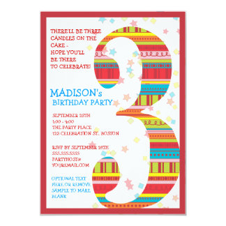 Celebration Stripes Number 3 Third Birthday Party Card