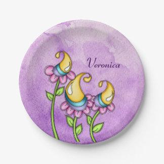 Celebration Watercolor Doodle Flower Plate