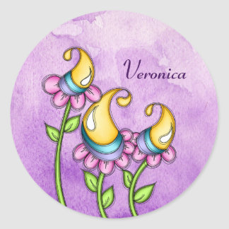 Celebration Watercolor Doodle Flower Sticker