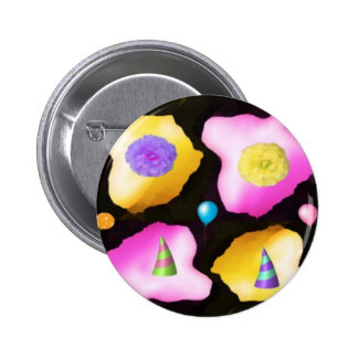 Celebrations: Floral Colorful Icebergs 2 Inch Round Button