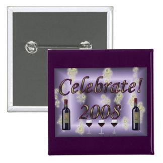 ¡Celebre 2008! Pin Cuadrado