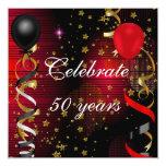 Celebre 50 estrellas rojas del 50.o de cumpleaños invitación