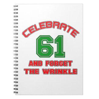 Celebre 61 y olvide la arruga libros de apuntes con espiral