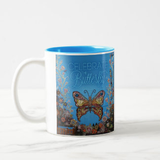 Celebre a los niños de la misión de la mariposa taza de café de dos colores