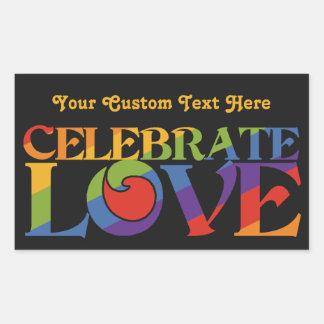 Celebre a los pegatinas del personalizado del amor pegatina rectangular
