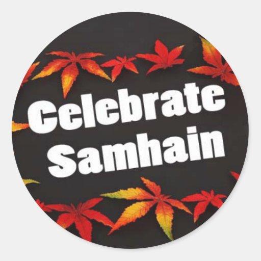 Celebre a los pegatinas negros de Samhain