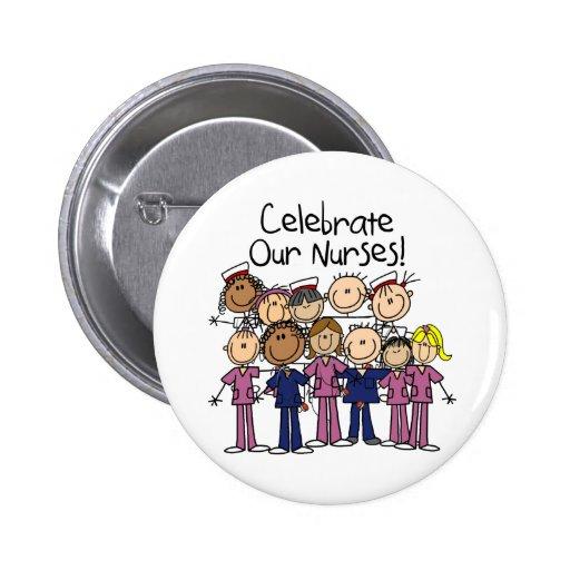 Celebre a nuestras enfermeras pin redondo 5 cm