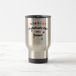 Celebre al granjero taza de café