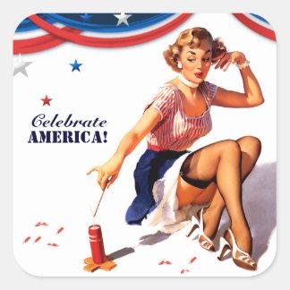 Celebre América. 4to de los pegatinas del Pin-para Pegatina Cuadrada