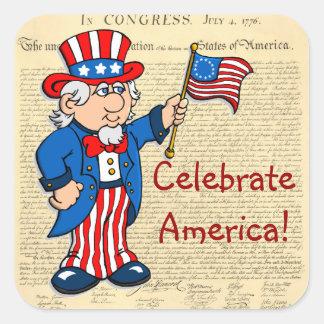 ¡Celebre América! Pegatina Cuadrada