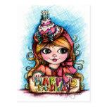 ¡Celebre! Chica grande del cumpleaños del ojo Postal