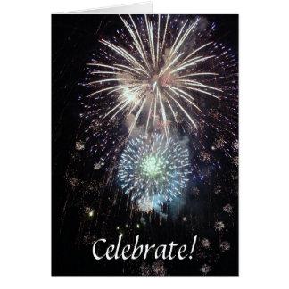 ¡Celebre con los fuegos artificiales! Tarjeta De Felicitación