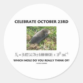 ¿Celebre el 23 de octubre en el cual el topo piens Etiquetas