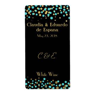 Celebre el amor - turquesa/aguamarina + Oro Etiqueta De Envío