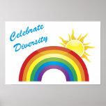 Celebre el arco iris y los posters de Sun, impresi