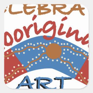 Celebre el arte aborigen pegatina cuadrada
