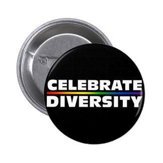 Celebre el botón negro de la diversidad pin redondo de 2 pulgadas