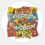 Celebre el collage de Kwanzaa Pegatinas Redondas