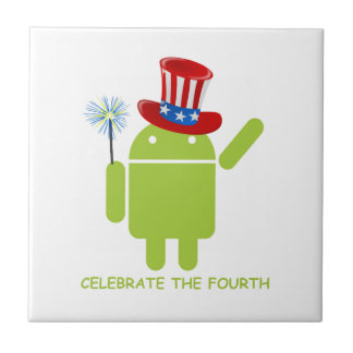 Celebre el cuarto (insecto androide Droid) Azulejo Cuadrado Pequeño