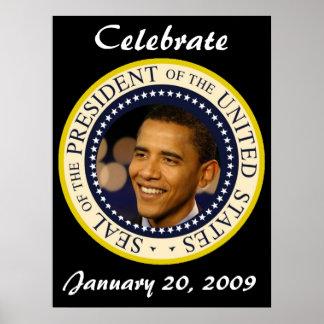 CELEBRE el día de inauguración de Barack Obama Póster