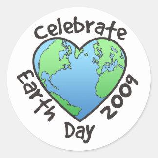 Celebre el Día de la Tierra 2009 Pegatina Redonda