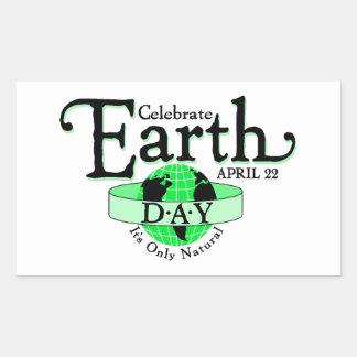 Celebre el Día de la Tierra Pegatina Rectangular