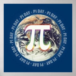 Celebre el día del pi en matemáticas de la tierra póster