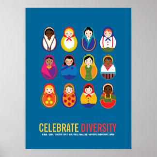 Celebre el día multicultural de la diversidad posters