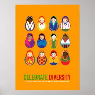 Celebre el día multicultural de la diversidad poster