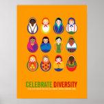 Celebre el día multicultural de la diversidad póster