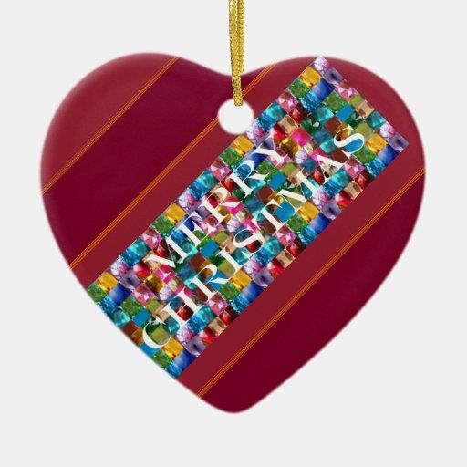 Celebre el NAVIDAD:  Alegría colorida loca de la Adorno Navideño De Cerámica En Forma De Corazón