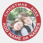Celebre el navidad con su foto preferida pegatina redonda