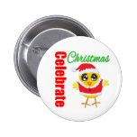 Celebre el polluelo de Santa del navidad Pins