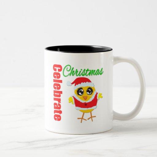 Celebre el polluelo de Santa del navidad Taza Dos Tonos