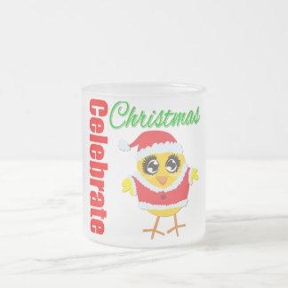 Celebre el polluelo de Santa del navidad Taza Cristal Mate