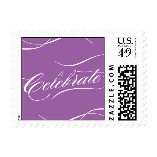 Celebre en púrpura timbres postales