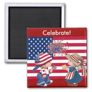 Celebre la bandera americana iman de frigorífico