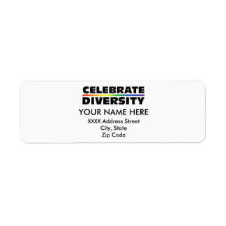 Celebre la diversidad etiqueta de remite