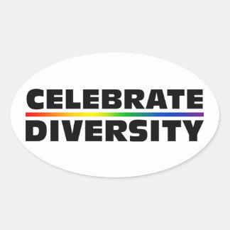 Celebre la diversidad pegatina ovalada