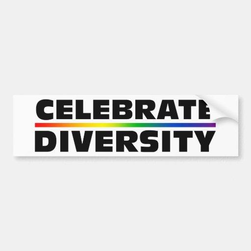 Celebre la diversidad pegatina para auto